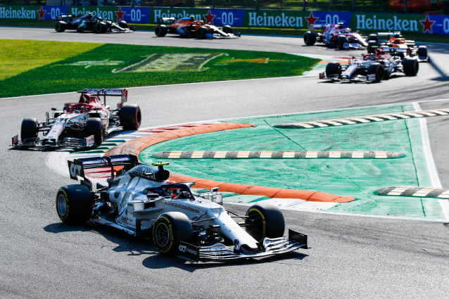 Gasly on the charge right after the restart of the race Picture supplied by F1/FIA